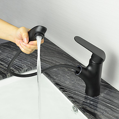Bathroom Sink Faucet - Pullout Spray Oil-rubbed Bronze Centerset One Hole Bath Taps
