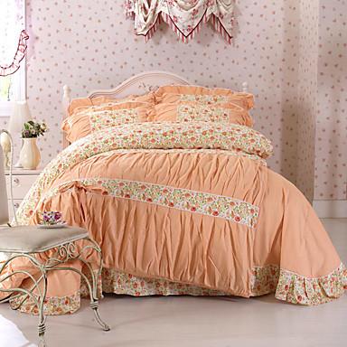 Bettbezug-Sets Blumen 100% Baumwolle Reaktivdruck 4 Stück