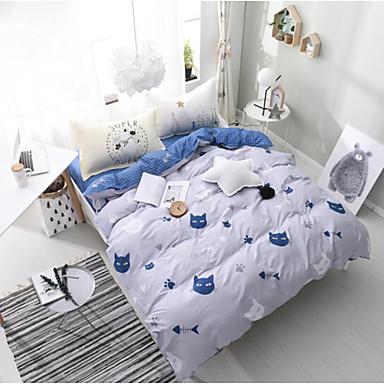 Kartoon 4 Stück Baumwolle Baumwolle 1 Stk. Bettdeckenbezug 2 Stk. Kissenbezüge 1 Stk. Betttuch