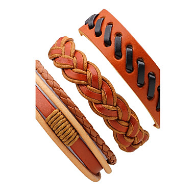Men's Leather Bracelet - Leather Twist Circle Rock Bracelet Orange For Stage Club