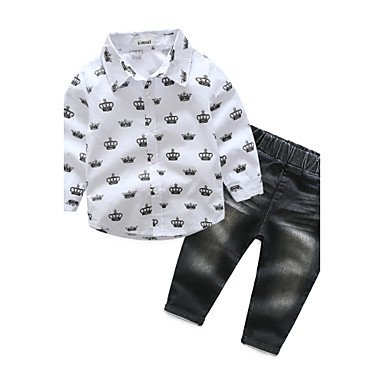 Boys' Clothing Set, Cotton Spring Fall Long Sleeves White