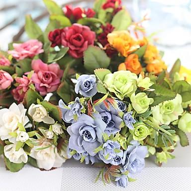1 Stück 1 Ast Seide Polyester Rosen Tisch-Blumen Künstliche Blumen