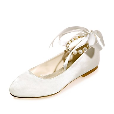 953ef4363 Women's Wedding Shoes Flat Heel Round Toe Pearl / Ribbon Tie Satin Ballerina  Spring / Summer Blue / Champagne / Ivory / Party & Evening