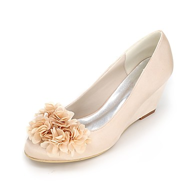 b537e74e4dfc Women s Shoes Satin Spring   Summer Basic Pump Wedding Shoes Wedge Heel  Round Toe Flower Blue   Champagne   Ivory   Party   Evening