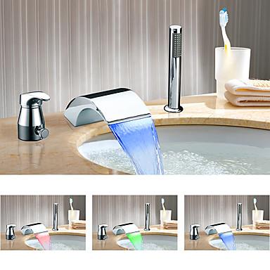 Bathtub Faucet - Color Changing Chrome Widespread Ceramic Valve