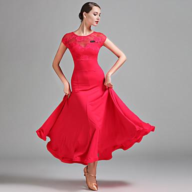 Ballroom Dance Women's Performance Milk Fiber Lace Short Sleeve Natural Dress