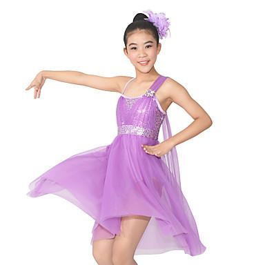 Baletti Hameet Naisten Suoritus Polyesteri Spandex Paljetein koristeltu Paljeteilla Liitos Kukkakuvio Hihaton Luonnollinen Leninki