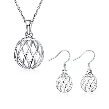 Damen Schmuck-Set - versilbert Grundlegend Einschließen Tropfen-Ohrringe / Halskette Silber Für Party / Alltag / Normal