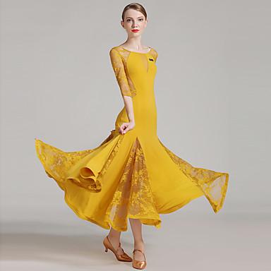 Für den Ballsaal Damen Leistung Spitze Eis-Seide Spitze Farbaufsatz Halbe Ärmel Normal Kleid