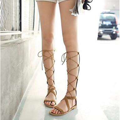 Damen Schuhe PU Sommer Komfort Sandalen Für Normal Schwarz Gelb