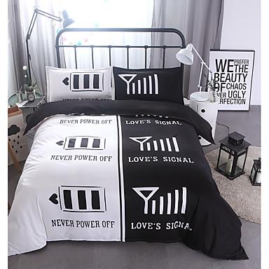 Bettbezug-Sets 3D 3 Stück Polyester / Baumwolle Reaktivdruck Polyester / Baumwolle 3-teilig (1 Bettbezug, 2 Kissenbezüge) (Für Einzelbett