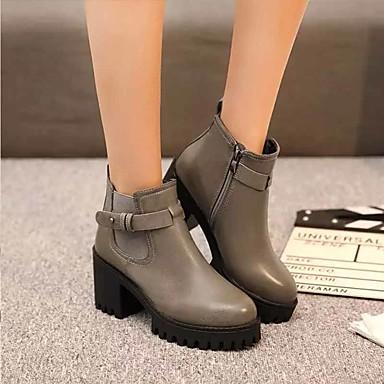 Mujer Invierno Hasta Cremallera de el Cuadrado Dedo Negro Botas 06131656 Tacón Confort redondo Zapatos Tobillo Otoño Botas PU Moda Botines fwx6Cftqrn