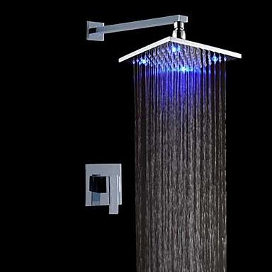 Zuhany csaptelep - Kortárs LED Króm Fali Kerámiaszelep