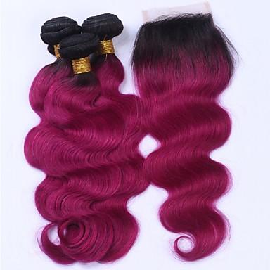 Brazil haj Hullámos haj Emberi haj sző 4 darab Hair Vetülék, zárral