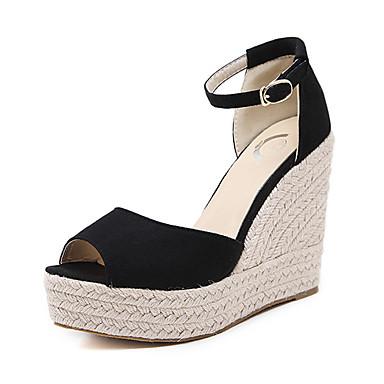 Women's Shoes Suede Summer / Fall Comfort / Novelty Heels Walking Shoes Wedge Heel Peep Toe Buckle Black / Wedge Heels