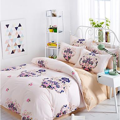 Blumen / Pflanzen Polyester / Baumwolle Polyester / Baumwolle 4-teilig (1 Bettbezug, 1 Bettlaken, 2 Kissenbezüge)