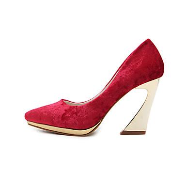 Damen High Heels Komfort Neuheit Wildleder PU Sommer Herbst Hochzeit Kleid Party & Festivität Stöckelabsatz Schwarz Rot 7,5 - 9,5 cm