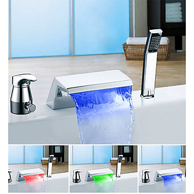 Bathtub Faucet - Color Changing Modern Chrome Tub And Shower Ceramic Valve