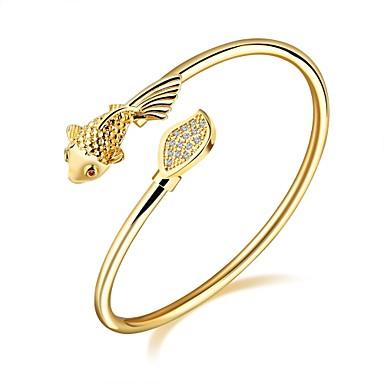 Női Kocka cirkónia Cirkonium Arannyal bevont Rózsa arany bevonattal Imádni való Luxus Bilincs karkötők - Luxus Alap Divat Állat Arany