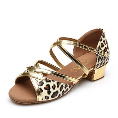 Damen Latin Kunstleder Volle Sole Praxis Niedriger Heel Gold Rot Leopard Unter 2,5 cm
