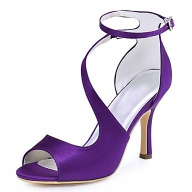 Χαμηλού Κόστους Γυναικεία παπούτσια γάμου-Γυναικεία Γαμήλια παπούτσια Τακούνι Στιλέτο Ανοικτή Μύτη Αγκράφα Ελαστικό ύφασμα Βασική Γόβα Καλοκαίρι Σκούρο μπλε / Μπλε / Σκούρο μωβ / Γάμου / Πάρτι & Βραδινή Έξοδος / EU41