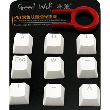 Dearmo 9 Schlüssel pbt zweifarbige Injektion von transparentem Keycap Set für beleuchtete mechanische Tastatur