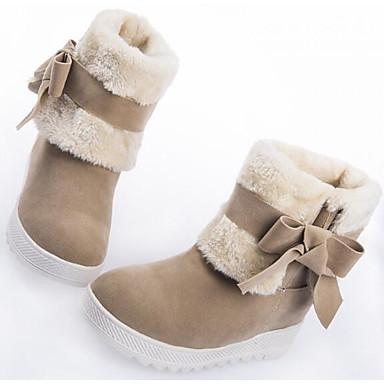 Damen Schuhe Stoff PU Winter Komfort Schneestiefel Stiefel Für Normal Schwarz Rot Kamel