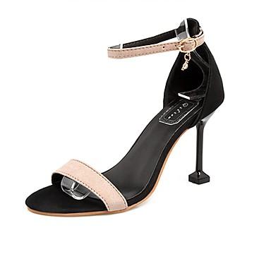 Women's Shoes Cashmere Summer Comfort Sandals Stiletto Heel Open Toe Black / Green / Pink