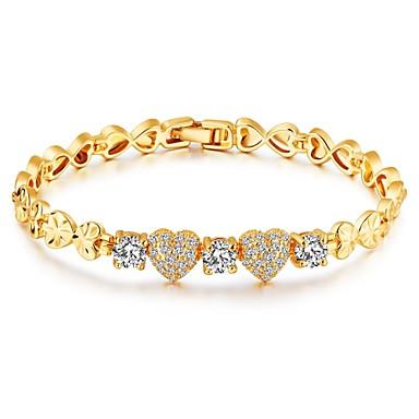 Női Kocka cirkónia Cirkonium Arannyal bevont Imádni való Luxus Szív Lánc & láncszem karkötők - Luxus Alap Divat Arany Karkötők