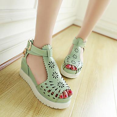 Damen Schuhe PU Sommer Komfort Sandalen Creepers Offene Spitze Für Normal Weiß Grün Rosa