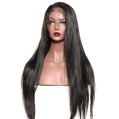 Emberi haj Csipke eleje Paróka Egyenes Sűrűség 100% kézi csomózású Afro-amerikai paróka Természetes hajszálvonal Közepes Hosszú Női