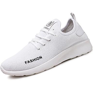 Férfi cipő PU Tavasz Ősz Kényelmes Sportcipők Gyalogló Fűző mert Sport Fehér Fekete Piros