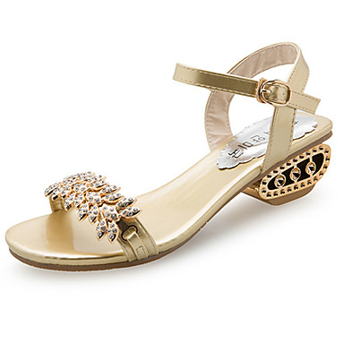49e2c092e2f66 Women s PU(Polyurethane) Summer Comfort Sandals Walking Shoes Low Heel Open  Toe Rhinestone Gold   Black   Silver