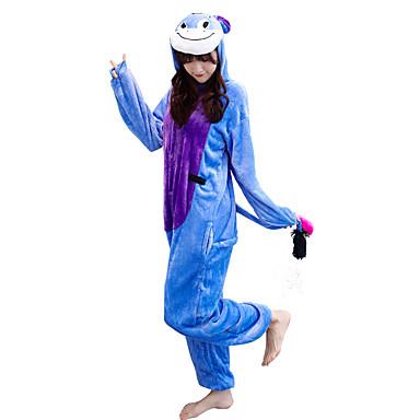 Adults' Kigurumi Pajamas Donkey Onesie Pajamas Flannelette Blue Cosplay For Men's Animal Sleepwear Cartoon Halloween Festival / Holiday