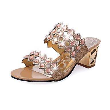 Women's PU(Polyurethane) Spring / Fall Comfort / Novelty / Slingback Sandals Chunky Heel Peep Toe Rhinestone Red / Green / Blue / Wedding / Party & Evening / Party & Evening