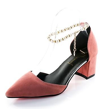 Damen Schuhe PU Sommer Komfort Sandalen Walking Niedriger Heel Spitze Zehe Perle für Normal Schwarz Grau Gelb Rosa