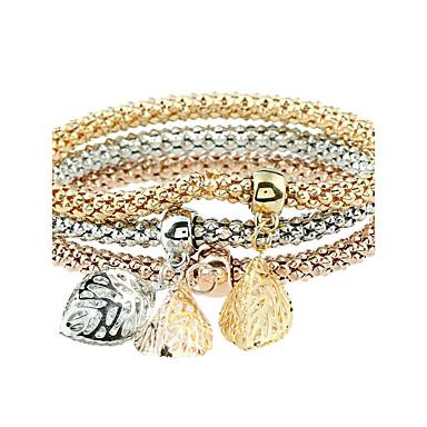 Női Szintetikus gyémánt Strassz Luxus Leaf Shape Karperecek - Fémes Luxus Állati Circle Shape Arany Karkötők Kompatibilitás Parti