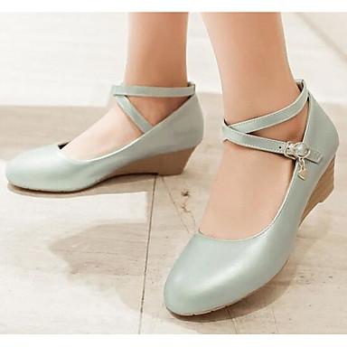 Damen Schuhe PU Frühling Sommer Komfort Sandalen Für Normal Beige Blau Rosa Mandelfarben