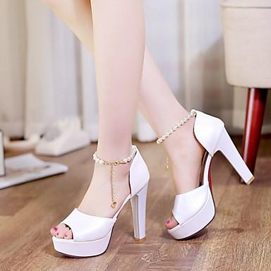 Damen Schuhe PU Nubukleder Frühling Sommer Komfort High Heels für Normal Weiß Beige Leicht Rosa