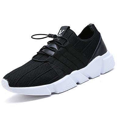 Herrn Schuhe PU Tüll Frühling Herbst Leuchtende Sohlen Komfort Sneakers Schnürsenkel für Normal Draussen Schwarz Grau