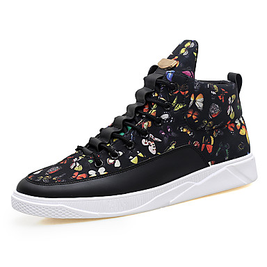 Men's Canvas Spring / Fall Comfort Sneakers Black / Black / Gold / Black / White