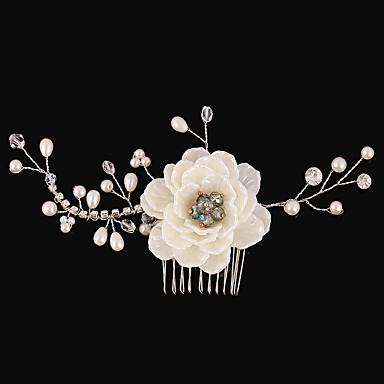 Gyöngyutánzat / Strassz / Anyag Hajfésű / Virágok 1 Esküvő / Különleges alkalom / Születésnap Sisak