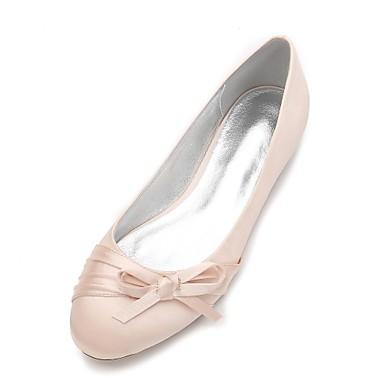 Damen Schuhe Satin Frühling Sommer Komfort Ballerina Hochzeit Schuhe Flacher Absatz Runde Zehe Schleife Satin Blume Blume für Hochzeit