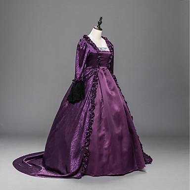 Viktorianisch Rokoko Frau Einteilig Kleid Violett Cosplay Langarm Hof Schleppe