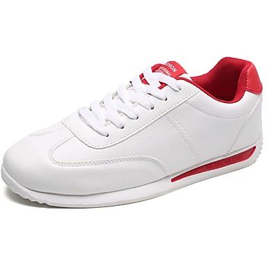 Férfi cipő PU Tavasz Ősz Kényelmes Sportcipők Gyalogló Fűző mert Hétköznapi Fehér Fekete/fehér Piros/Fehér Fehér és Zöld