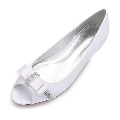 Női Cipő Szatén Tavasz / Nyár Kényelmes / Balerinacipő Esküvői cipők Lapos Köröm Strasszkő / Csokor / Szatén virág Kék / Világosbarna /