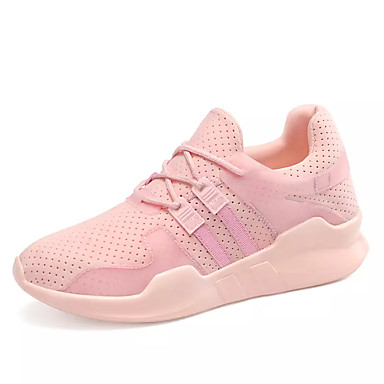 Women's Shoes Tulle Spring / Fall Light Soles Sneakers Flat Heel Round Toe Lace-up White / Black / Pink