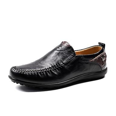 Férfi cipő PU Nyár Ősz Kényelmes Papucsok & Balerinacipők mert Hétköznapi Fekete Khakizöld