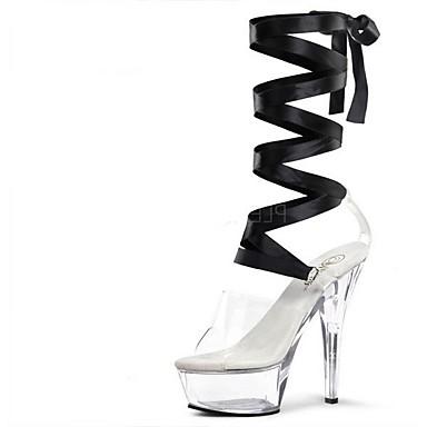 Női Cipő Csipke / PU Nyár Formai cipő Szandálok Tűsarok Köröm Kristály / Fűző mert Ruha / Party és Estélyi Fekete / Piros