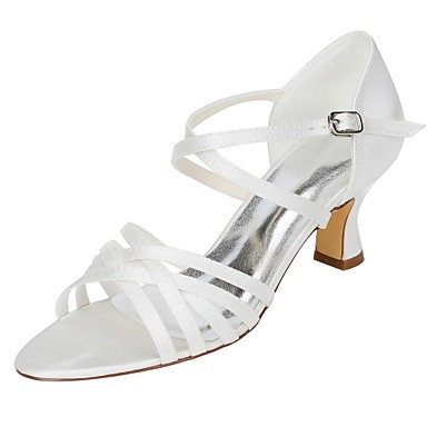 Women's Shoes Stretch Satin Summer Basic Pump Wedding Shoes Chunky Heel Open Toe Buckle Ivory